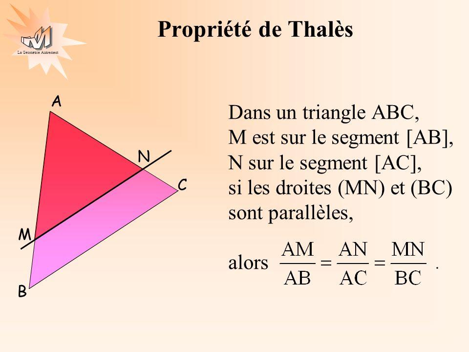 Propriété de Thalès Dans un triangle ABC, M est sur le segment [AB],